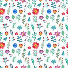 Seamless floral pattern with hand drawn watercolor flowers and leaves on white background