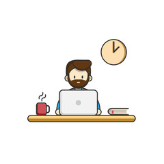 A man working at a computer. Time to work, work on laptop, workplace. Vector flat illustration.
