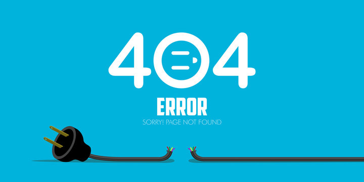 404 error website not found graphic design. Vector illustration