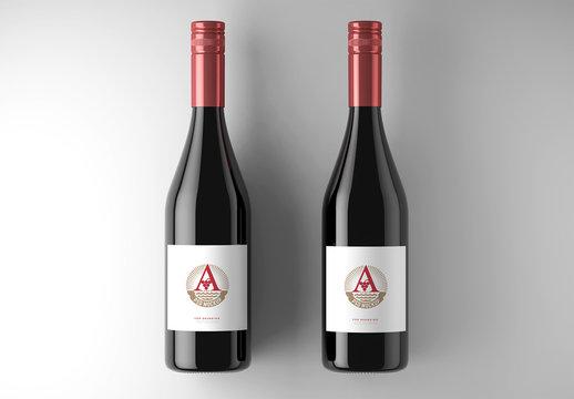 2 Wine Bottle Labels Mockup