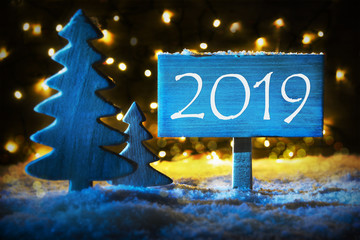 Blue Christmas Tree, Text 2019 For Happy New Year
