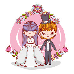 girl and boy couple marriage with branches