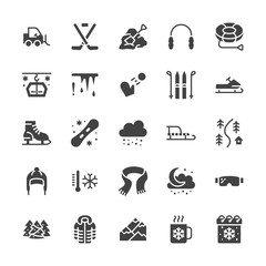 Winter sports flat glyph icons. Cold weather outdoor activities - skiing, hockey, snowboard, snowball, snow removal vector illustrations. Signs equipment store. Solid silhouette pixel perfect 48x48.