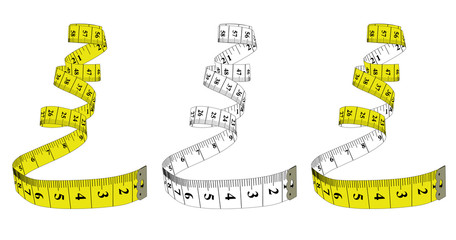 Measuring tape,diet theme. Theme for the studio, dressmaking. Vector illustration.