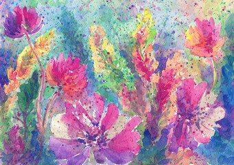 Abstract bright pink yellow flowers. Emotional painting. Watercolor artwork. Abstract background and texture