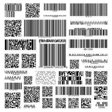 Barcode set on isolated background