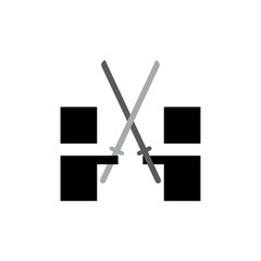 Samurai fighting logo icon