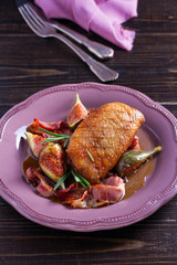 Duck breast with bacon, figs and rosemary