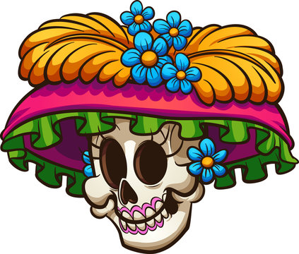 Day of the dead Mexican catrina skull. Vector clip art illustration with simple gradients. All in a single layer.