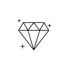 diamond icon. Element of jewelry for mobile concept and web apps illustration. Thin line icon for website design and development, app development