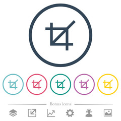 Crop tool flat color icons in round outlines