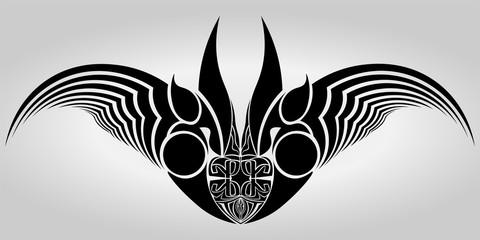 Black bat.  Abstract vector illustruation.