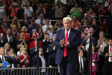 President Donald Trump rallies supporters during a Make America Great Again rally in Johnson City Tennessee