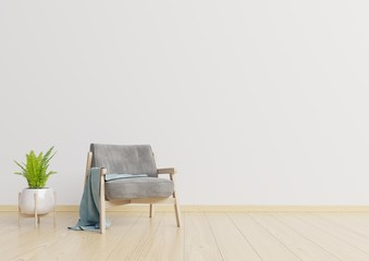 The interior has a armchair and lamp on empty white wall background,3D rendering,3d rendering