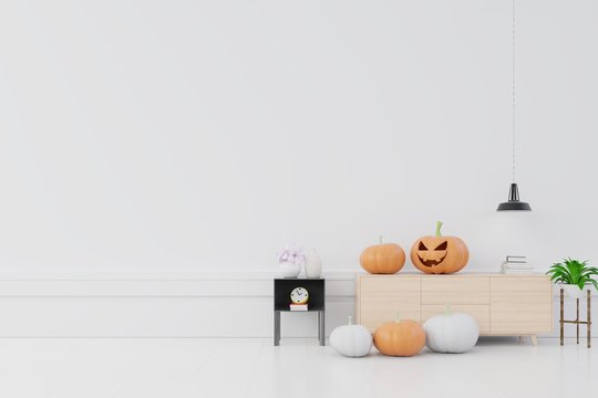 Room composition with a wood cabinet near the wall and pumpkins in interior decoration for halloween, 3D rendering