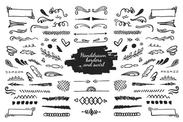Hand drawn swirls, borders, and dividers. Sketched elements for decoration or design. Doodling sketch of twigs and lines.