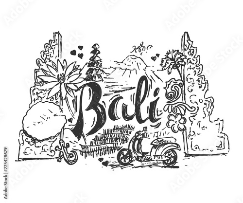 Drawing Illustration Of Bali Island With Different Cultural Elements