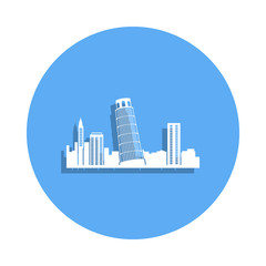 cityscape Pisa icon in badge style. One of Cityscape collection icon can be used for UI, UX
