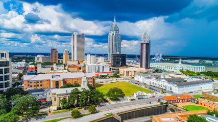 Downtown Mobile Alabama AL Skyline Aerial