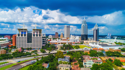 Aerial View of Downtown Mobile, Alabama, USA Skyline