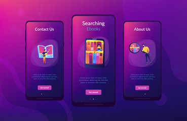 Tablet with bookshelves and students searching and reading information. Digital learning, online database, content storing and searching, ebooks concept, violet palette. App interface template.