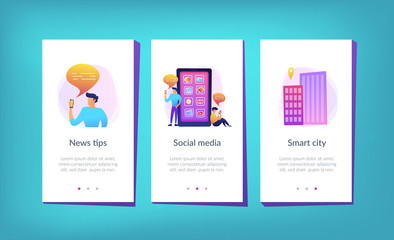 Men near huge smartphone with application icons on the screen checking social media and news feeds. Social media and news tips landing page. UI UX GUI app interface template.