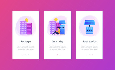 Man charges smartphone from solar recharge station. Ecological renewable charging systems, smart bus stops, IoT and smart city concept, violet palette. UI UX GUI app interface template.