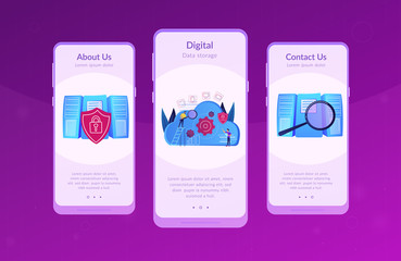 Two developers looking at the gears on the cloud. Digital data storage, database securiry, data protection, cloud technology concept, violet palette. Mobile UI UX GUI app interface template.
