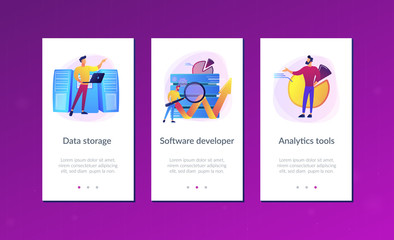 Developer with magnifying glass working with big data and zigzag arrow. Digital analytics tools, data storage and software engineering concept, violet palette. UI UX GUI app interface template.
