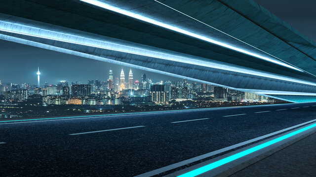 Futuristic style highway road with blue neon light and cityscape background .