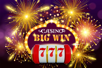 Big win 777 lottery vector casino concept with slot machine. Win jackpot in game slot machine illustration. Casino banner poster or flyer. Online casino background.