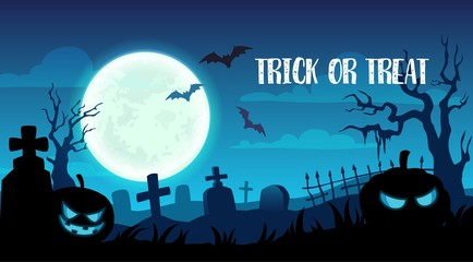 Halloween holiday trick or treat cemetery design