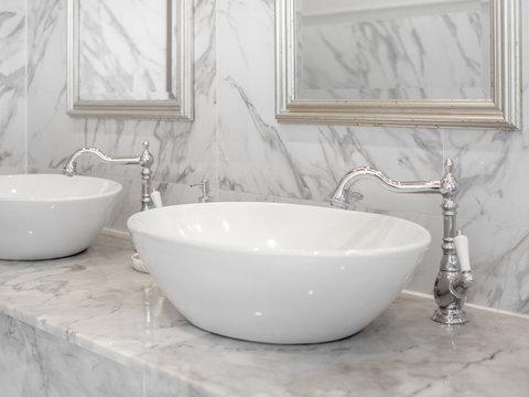 White luxury sink in bathroom