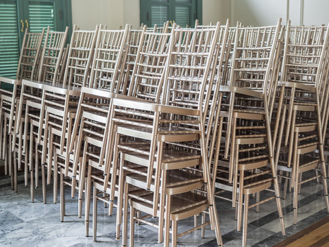 Modern stacked silver chairs