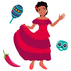 Vector illustration of young mexican women dancing with traditional costume