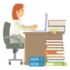 stressed woman office worker with her pile of work waiting in the office