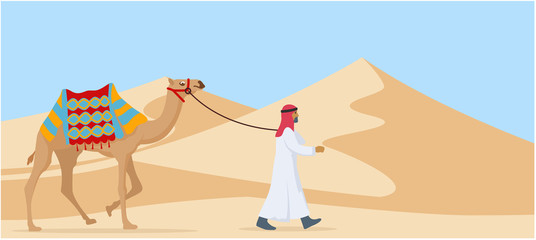 young arab guy walking his camel trough desert