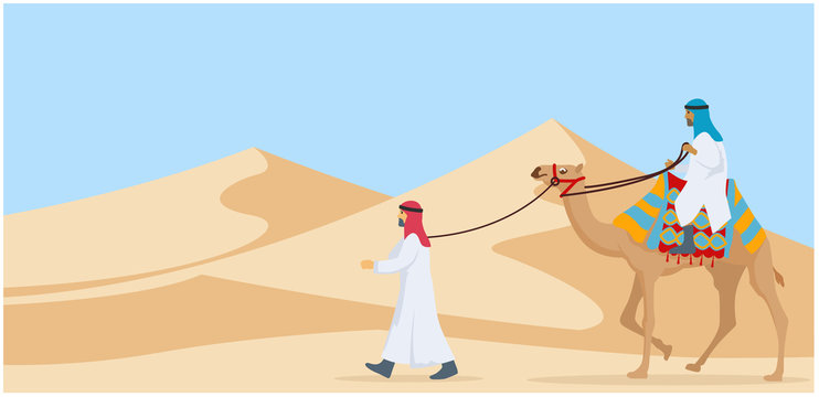 Two guy riding and walking their camel trough desert