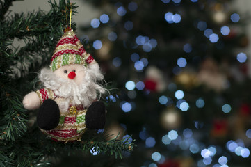 Santa with christmas tree in the background - Christmas props - Christmas tree - Santa Claus