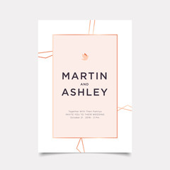 Wedding Invitation, art deco style invite thank you, rsvp modern card Design with white and geometrical polyhedron decorative Vector illustration luxury elegant template