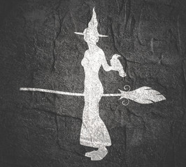 Illustration of standing young witch icon. Witch silhouette with a broomstick and raven. Halloween relative image