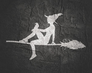 Illustration of sitting young witch. Witch silhouette with a broomstick and raven. Halloween relative image