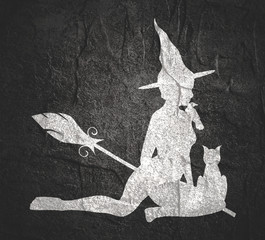 Illustration of sitting young witch. Witch silhouette with a broomstick, cat and raven. Halloween relative image