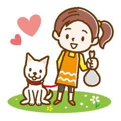 犬のフンの後始末をする女の子 手描き風