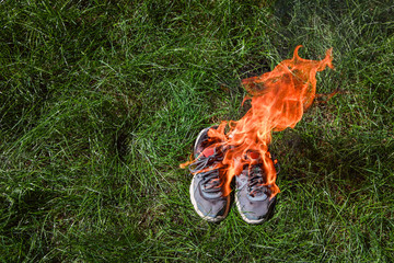 Burning shoes in protest