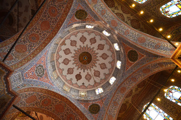 Istanbul, Turkey. The intricately decorated interior of the Blue Mosque, Istanbul,Turkey.