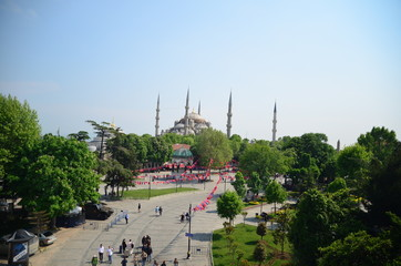 View from the top on  the Sultanahmet Mosque (Blue Mosque) and Sultanahmet square  Istanbul, Turkey