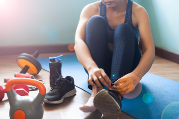 Woman exercise at home, Healthy lifestyle