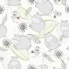 Vector hand drawn seamless pattern with leaves and hippos