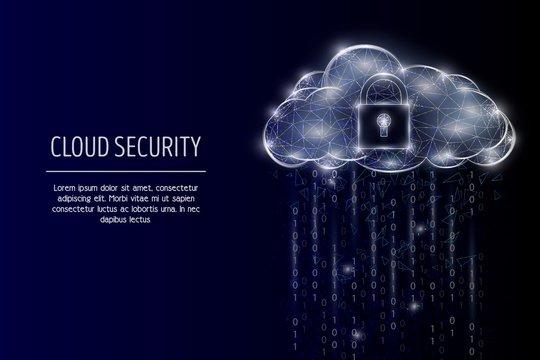Cloud security vector geometric polygonal art style design